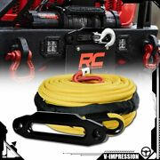 Yellow 3/8 X 95and039 Synthetic Winch Rope 22000lb + 10 Towing Black Hawse Fairlead