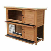 48 2 Tiers Wooden Pet House Hutch Rabbits Chickens Wooden Cage Play Backyard