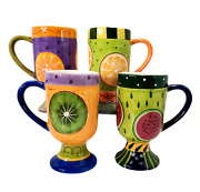 Set Of 4 Fruit Pattern Pedestal Latte Mugs Hand Painted By Milson And Louis