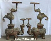 24old China Bronze Ware Elephant Phoenix Oil Lamp Candlesick Candle Stick Pair