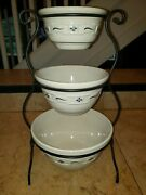 Set Of 3 Longaberger Mixing Bowls Nesting Pottery Blue Woven Traditions W/ Rack