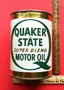 Vintage 1960and039s Quaker State Super Blend Motor Oil Old Tin Can Nice Can