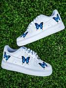 🦋 Nike Air Force 1 Low Blue Medium Butterfly Design White Custom Shoes All Size