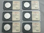 Lot Of 6- 2001 American Silver Eagle Dollar, 1 Oz., Littleton Coin, Uncirculated