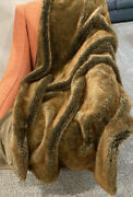 Restoration Hardware Luxe Faux Fur Coyote Brown Throw Blanket 50 X 60 Plush
