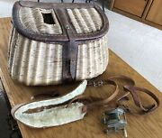 Antique Fly Fishing Creel Fisherman's Wicker Basket Leather Strap And Old Fly Reel