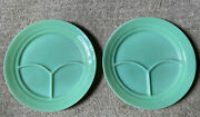 2 Fire King Jadeite Restaurant Ware 9 5/8 Divided 3 Section Grill Plates Set