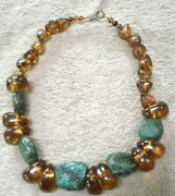 Rare Vintage Chunky Mexican Rough Chiapas Amber And Natural Turquoise Necklace
