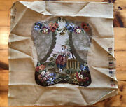 Antique1880s Petit Needlepoint Floral Garden Scene Figure Upholstery Chair Seat