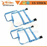 2x Blue Car Tow Towing Dolly Straps Tire Basket Strap W/ Flat Hook