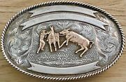 Amazing Early Vogt Sterling Silver And 10k Gold Cowboy Roping Steer Trophy Buckle