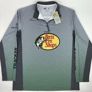 New Nwt Bass Pro Shops Bps 1/4 Zip Fishing Longsleeve Jersey Large Green Poly