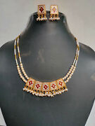 22k Gold Plated Indian Both Side Wearable Faux Pearl Necklace Earrings Set Ad342