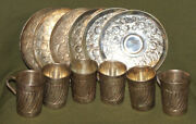 Vintage Floral Silver Plated Set 6 Coffee Tea Cups Mugs With Saucers
