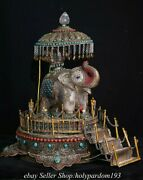 16.4 Old Tibet Natural Crystal Copper Filigree Inlay Gems Elephant Statue G