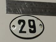Vintage Enameled Porcelain Tin Sign Number 29 - 2.5 In -1.7 In Small Rare Q