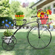 Bicycle Shape Plant Stand Metal Flower Pot Shelf Planters Display Rack For Patio