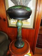 Galle Style Lamp, Forest Water Design In Blue, Working Lamp, Large Form @ 31 1/4