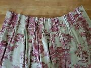 2 Custom Pinch Pleat Red Tan Floral French Country W39xl102.5 Drapes Curtains