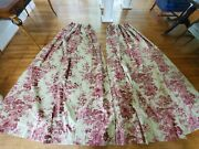 2 Custom Pinch Pleat Red Tan Floral French Country W27xl102.5 Drapes Curtains