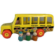 Vintage Fisher Price Little People Play Family School Bus 192 Lot Of 3 Wood Kids