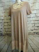 Left Of Center Large Dress Pink Striped High Low Cutout Short Sleeve Cotton Midi