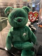 Rare Ty Beanie Baby Erin The Bear 1997 Retired Pvc Pellets ☘️ With Tag Errors