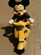 Masudaya Disney Mickey Mouse Yellow Scooter Wind-up Toy 1982 Japan Vintage
