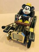 Disney Mickey Mouse Classic Car Tinplate Wind-up Toy Vintags Antique