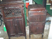 2 Antique Phonographs 1920's Wing And Son + Columbia Grafonola Victrola 78 Rpm Old