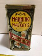 """Vintage Large Manning And Mackay's Lidded Cough Drop Tin Made In England 8"""" X 4"""""""