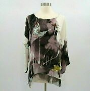 Citron Santa Monica Tunic Blouse Womens 100 Silk S Small Butterfly Floral