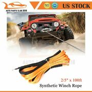 2/5x100ft 23809lb Synthetic Winch Rope Line Orange Recovery Cable For Truck Suv