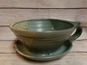 Hand Thrown Pottery Berry Bowl Strainer Colander Handle And Plate Signed Farmhouse