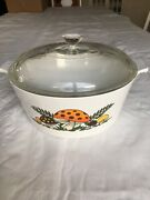 Vintage Corning Ware Merry Mushrooms Pyrex 2.5 Qt Casserole Covered Bakeware