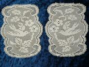 2 X Antique Mary Card And039wild Rose And Pigeonand039 Filet Hand Crochet Large Doilies