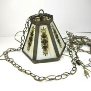 Vintage Leviton Brass Toned Hanging Lamp W/ Floral Marbled Glass Tile
