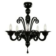 Chandelier Glass Black Modern 5 Lights Murano Also On Size Sighted
