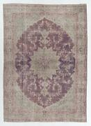 8.1x11.3 Ft Hand-knotted Turkish Area Rug. Vintage Oushak Carpet In Soft Colors