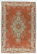 8.3x12.3 Ft Fine Vintage Turkish Rug In Rust Terracotta Off White Colors