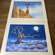 Vintage Disney Winnie The Pooh Piglet Lithographs Matted 2 Prints 11x14 Nice
