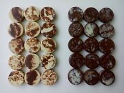 Vintage Brown And White Marble Swirl Bakelite Backgammon Chips Game Pieces