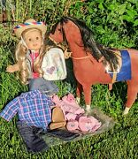 American Girl Doll Tenney And Felicity's Retired Horse Euc Lot New Clothes