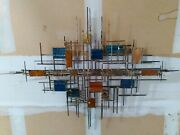 Mid Century Brutalist Metal And Glass Wall Sculpture