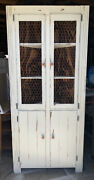 Vintage Distressed Country Corner Cabinet Hutch