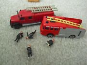 Lot Of Ho Scale Fire Fighter Figurines With Corgi And Wiking Fire Trucks