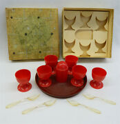 Vintage 1940s German Red Plastic Egg Cup Set And Box