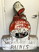 """Sherwin Williams """"cover The Earth"""" Large Metal Sign - Vintage 1950's Americana"""