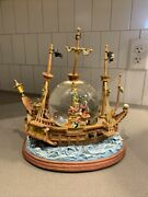 Vintage Disney You Can Fly Musical Peter Pan Pirate Ship Snow Globe