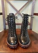 J Crew Leather Combat Lace Up Side Zip Boot Womens 8.5m